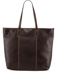 Neiman Marcus - Slim Large Leather Tote Bag - Lyst
