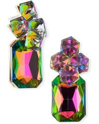 Fragments - Rectangular Crystal Cluster Earrings - Lyst