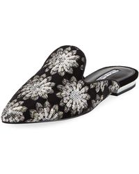 Charles David - Willis Pointed Embroidered Velvet Mule - Lyst