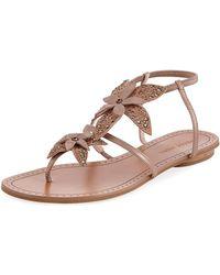 Pelle Moda - Ellis Flower Flat Sandals - Lyst