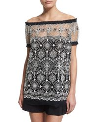 Naeem Khan - Off-the-shoulder Embroidered Peasant Top - Lyst