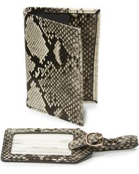 Neiman Marcus | Boxed Set Python Embossed Passport Holder & Luggage Tag Set | Lyst