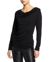 Neiman Marcus - Cowl-neck Long-sleeve Stretch Top - Lyst