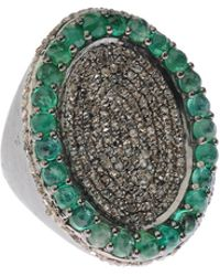 Bavna - Silver Oval Cocktail Ring With Emeralds & Diamonds - Lyst