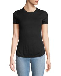 Minnie Rose - Short-sleeve Pointelle-back Sweater - Lyst