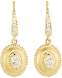 Penny Preville - Small 18k Gold Fluted Diamond Oval Drop Earrings - Lyst