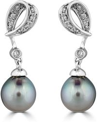Belpearl - 14k White Gold Looped Diamond & Pearl Earrings - Lyst