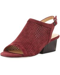 Neiman Marcus - Corrie Perforated Slingback Sandals - Lyst