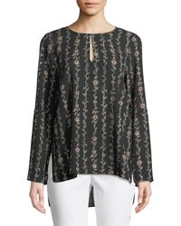 Cece by Cynthia Steffe - Floral Keyhole Bell-sleeve Blouse - Lyst
