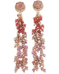Lydell NYC - Multihued Beaded Linear Drop Earrings - Lyst