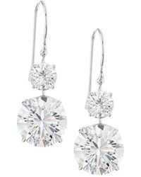 Fantasia by Deserio - 18k Gold-plated Cz Double-drop Earrings - Lyst