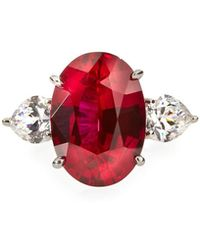 Fantasia by Deserio - Red & White Cz Crystal Ring - Lyst