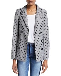 Nicole Miller - Double-breasted Plaid & Polka-dot Belted Jacket - Lyst