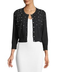 Karl Lagerfeld - Pearlescent Beaded Cropped Shrug Sweater - Lyst