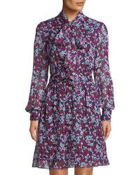 Diane von Furstenberg - Arabella Tie-neck Floral-print A-line Dress - Lyst