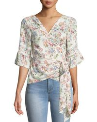 Max Studio - Floral Ruffle-sleeve Wrap Blouse - Lyst