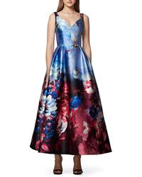 David Meister - Floral Watercolor Midi Ball Gown - Lyst