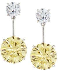 Fantasia by Deserio - Canary Yellow Cz Double Drop Earrings - Lyst