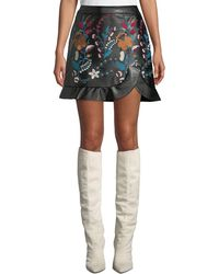 Laundry by Shelli Segal - Faux-leather Floral-embroidered Skirt - Lyst