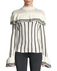 Haute Rogue - Clarise Striped Ruffled Sweater - Lyst