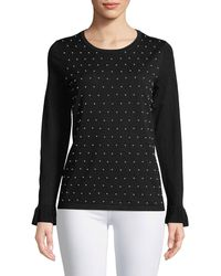 Karl Lagerfeld | Pearly-studded Long-sleeve Sweater | Lyst