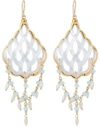 Devon Leigh - Mother-of-pearl Filigree & Aqua Dangle Earrings - Lyst