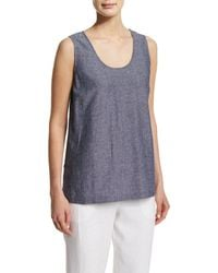 Go> By Go Silk - Sleeveless Cross-dye Linen Tank - Lyst