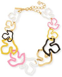 Oscar de la Renta - Foliage Outline Painted Necklace - Lyst