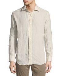 Neiman Marcus - Plaid Linen Sport Shirt - Lyst