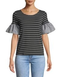 Casual Couture - Mixed-pattern Flutter Sleeve Tee - Lyst