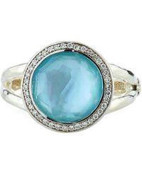 Ippolita - Lollipop Mini Ring In Swiss Blue Topaz Doublet With Diamonds - Lyst