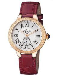 Gv2 - Swiss Quartz Astor Burgundy Diamond Leather Strap Watch - Lyst