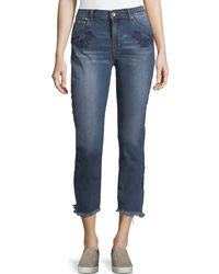 Band Of Gypsies - Embroidered Straight-leg Ankle Jeans - Lyst