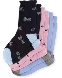 Neiman Marcus - Three-pair Multi-printed Ruffle Socks - Lyst