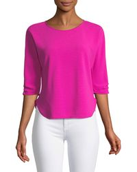 Casual Couture - 3/4-ruched-sleeve Tee - Lyst