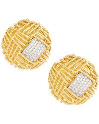 Roberto Coin - 18k Two-tone Barocco Diamond Button Earrings - Lyst