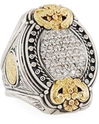 Konstantino - Asteri Ornate Oval Pave White Diamond Ring - Lyst