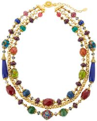 Jose & Maria Barrera 3-strand Cloisonne Agate & Chain Necklace