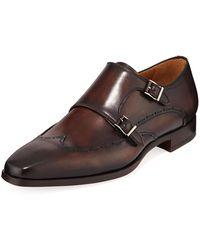 Neiman Marcus - Men's Cisco Double Monk-strap Wing-tip Shoes - Lyst