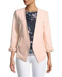 Nanette Nanette Lepore - 3/4-sleeve Ruffle-cuff Blazer Jacket - Lyst