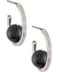 Belpearl - 14k Pave Diamond & Tahitian Pearl Hoop Earrings - Lyst