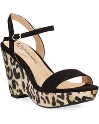 f936ec355797 Neiman Marcus - Metallic Leopard Wedge Sandals - Lyst