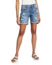 Joe's Jeans - Bermuda Distressed High-low Frayed Shorts - Lyst