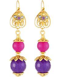 Jose & Maria Barrera - Linear Fuchsia & Purple Drop Earrings - Lyst