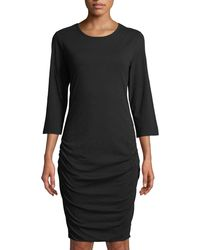 James Perse - Ruched 3/4-sleeve Dress - Lyst