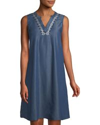 Neiman Marcus - Embroidered Chambray Sleeveless Dress - Lyst