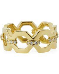 Penny Preville - 18k Geometric Link Ring W/ Diamonds - Lyst
