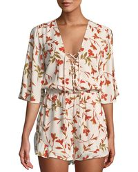 Lovers + Friends - Epiphany Floral Cold-shoulder Romper - Lyst