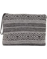 Evelyn K - Geometric Zip Knit Clutch Bag - Lyst