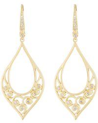 Penny Preville - 18k Teardrop Scroll Diamond Drop Earrings - Lyst